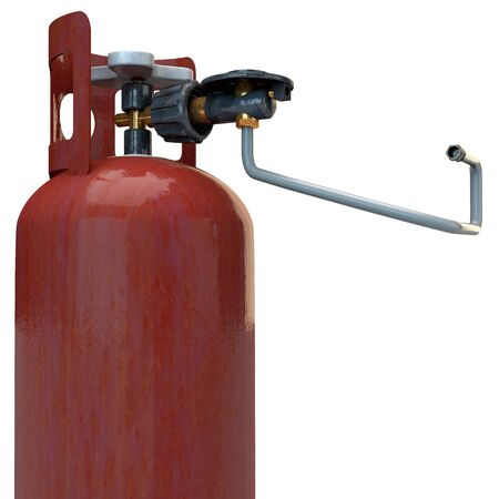 propane tank: Propane gas bottle with burner adapter in 3D Stock Photo