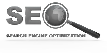 search engine optimization: Search Engine Optimization with magnifying glass and globe Stock Photo