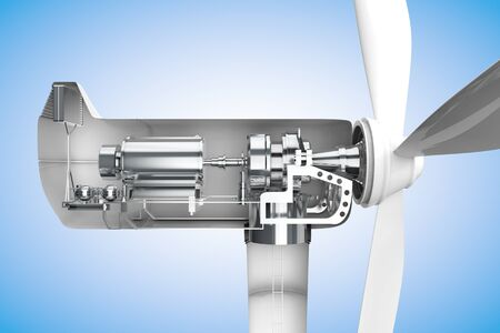dynamo: Cross-section of windmill showing generator in 3D Stock Photo