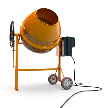 Concrete mixer in 3D isolated on white background Stock Photo - 14453062