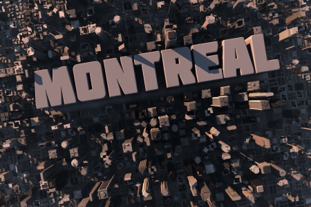 Top view of urban city in 3D with skycrapers, buildings and name Montreal photo
