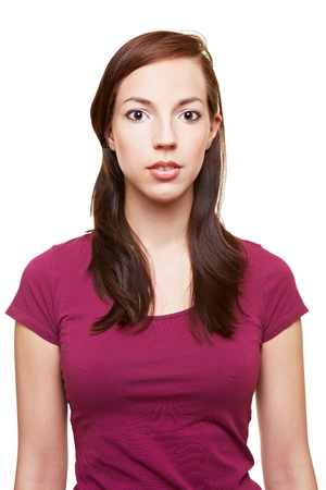 Front view of attractive young woman with blank expression Stock Photo - 14903284