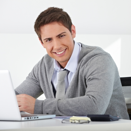 Smiling business man sitting in office with his laptop Stock Photo - 15477127