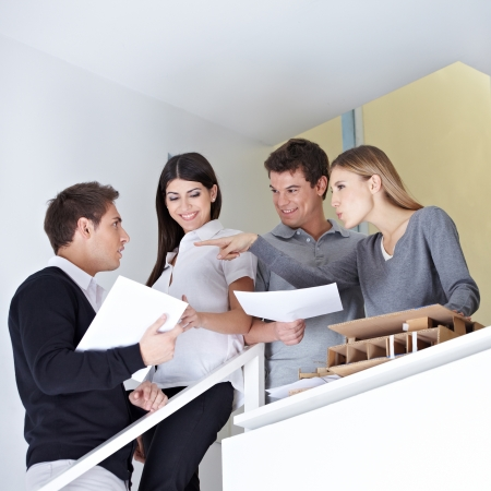 Group of business people arguing in office on a stairway Stock Photo - 15477125