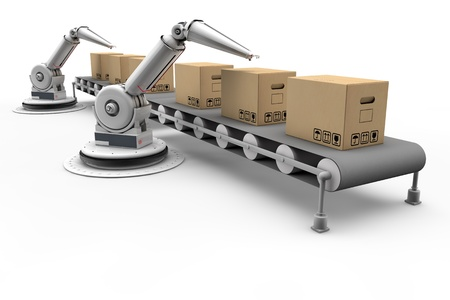 assembly line: Articulated robots working on boxes on assembly line