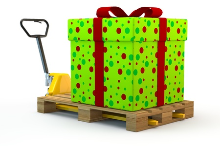 Huge colorful gift on pallet on a forklift truck photo