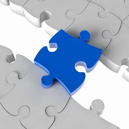 Blu di puzzle ponte puzzle su una lacuna in 3D Archivio Fotografico