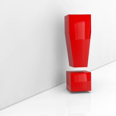 note of exclamation: Red exlamation mark in 3D leaning on a grey wall