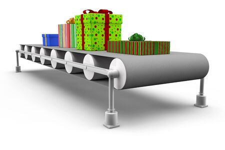 Many different gifts on a assembly line in 3D photo