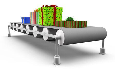 lopende band: Veel verschillende cadeaus op een lopende band in 3D Stockfoto