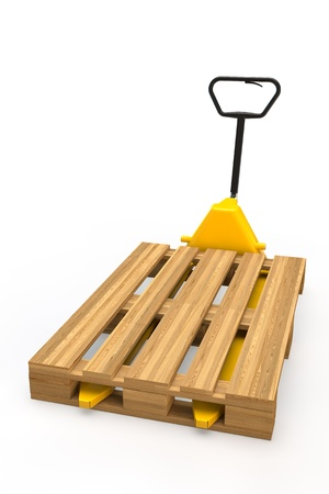 Yellow hand pallet truck with pallet in 3D photo
