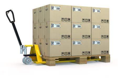 stock agency: Mano transpallet con un pallet pieno di scatole in 3D