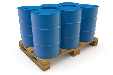 Zes blauwe olievaten staan op een pallet Stockfoto