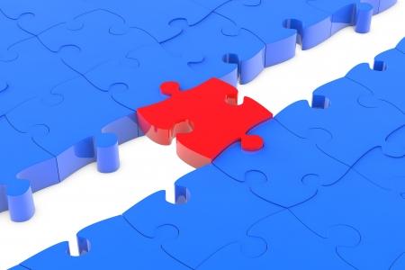 red puzzle piece: Jigsaw puzzle piece as connection bridge between blue parts