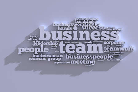 buzzwords: Business Team Tag Cloud with buzzwords in 3D