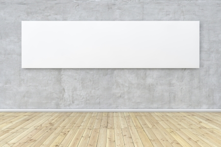 art gallery interior: White empty panoramic image hanging on a concrete wall