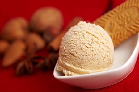 bisquit: Scoop of gingerbread ice cream with bisquit and spices Stock Photo