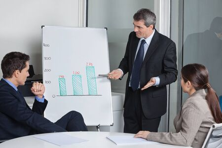 Many businesspeople listening to presentation with a whiteboard in a meeting Stock Photo - 16128648