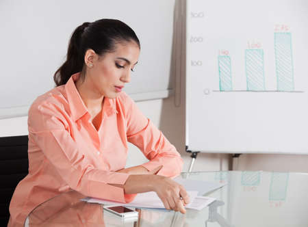 Businesswoman working in the office at her desk on a contract Stock Photo - 16128602