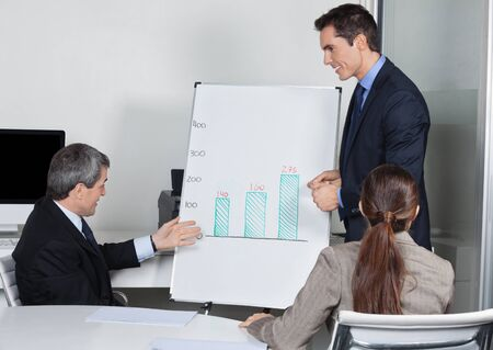 Businesspeople with whiteboard discussing strategy in a meeting Stock Photo - 16166244