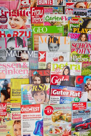 Covers of many different colorful magazines from Germany Editorial
