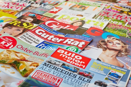 Covers of many different magazines in Germany Stock Photo - 16284385