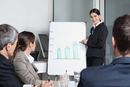 Businesswoman moderating strategy meeting for a business team in the office photo