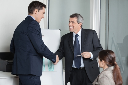 Two successful businesspeople giving handshake in the office Stock Photo - 16253761