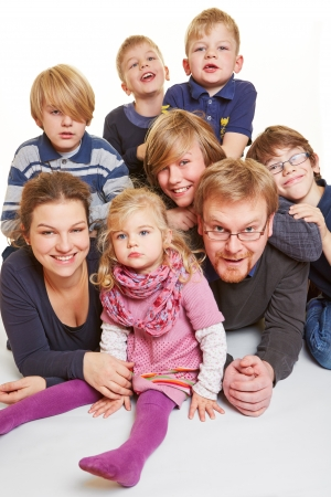 one family: Portrait of a family with five boys and one girl
