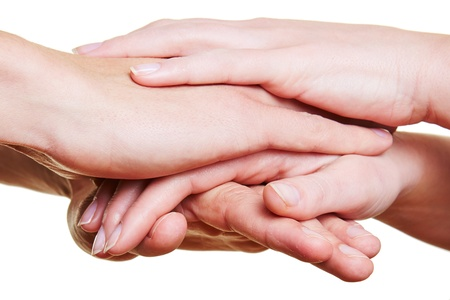 Team stacking many hands for motivation in a group Stock Photo - 16931723