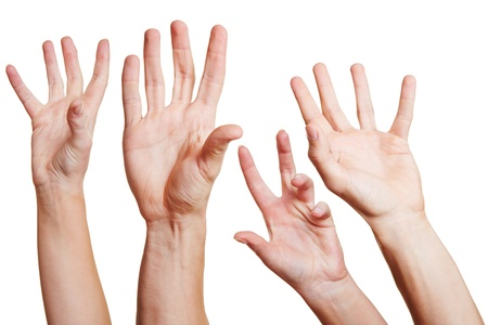 hands out: Many hands reaching out in the air for help