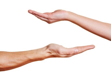 Two open palm hands asking for a donation Stock Photo - 16966140