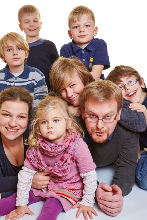 numerous: Portrait of a happy family with many children