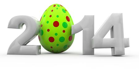Easter in year 2014 with colorful easter egg in 3D Stock Photo - 17002255
