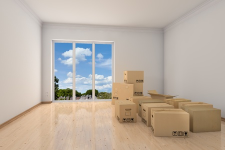 moving company: Empty office room with moving boxes during relocation