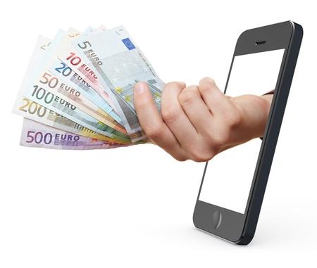 abastecimiento: S�mbolo de pago m�vil con el tel�fono inteligente con la mano que sostiene billetes de euro Foto de archivo