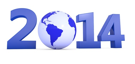 wordwide: The year 2014 in 3D letters with blue globe as a Zero
