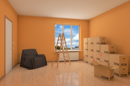 paint box: Empty apartment during relocation with moving boxes and ladder Stock Photo
