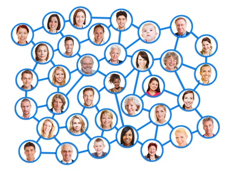 Relationships of people in a big social network photo