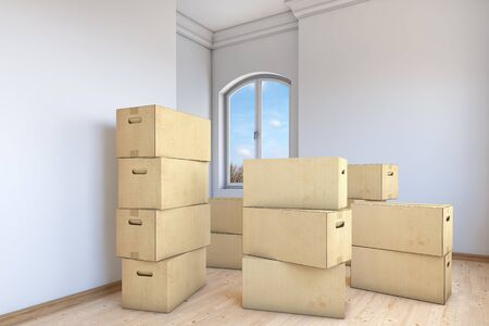 Many moving boxes in an empty apartment room photo