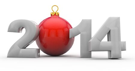 Christmas 2014 with red chistmas tree ball in 3D Stock Photo - 17037884