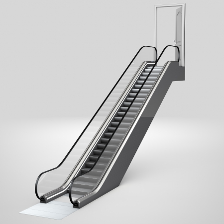 Escalator in 3D leading up to an open door photo