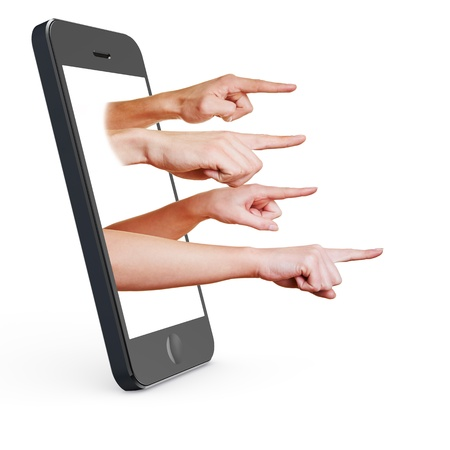 mockery: Many fingers pointing out of the display from a smartphone
