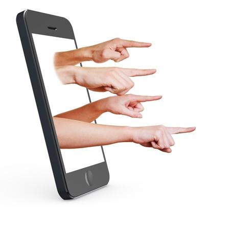 squeal: Molte dita rivolte fuori del display da uno smartphone Archivio Fotografico