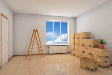 vacant: Room during relocation with many moving boxes and ladder