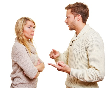 sideways: Angry wan discussing with his woman in a relationship