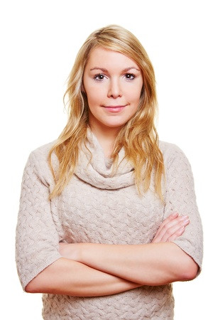 Blonde woman with her arms crossed looking content Stock Photo - 17104900