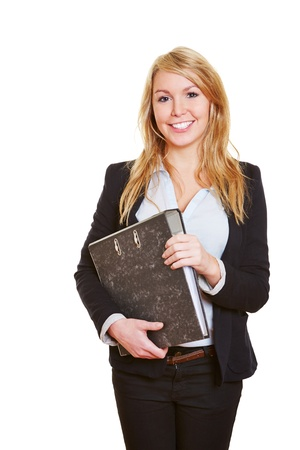 Young happy blonde business woman with folder Stock Photo - 17104915
