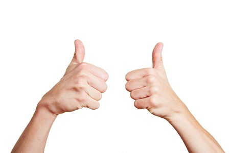 both: Man holding both his thumbs up high Stock Photo