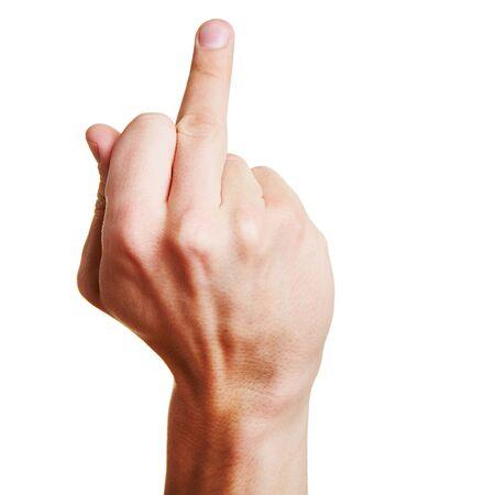 middlefinger: Hand holding middlefinger up for an obscene gesture